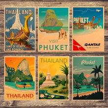 Pinturas en lienzo para viajar en Tailandia, islas de Tailandia, visitas, cuadros de pared Vintage, carteles Kraft, pegatinas de pared recubiertas, regalo para la decoración del hogar