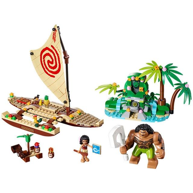mylb 322Pcs Moana's Ocean Voyage Friends Model Building Block Toy Maui Princess Moana Compatible With LegoINGly Friends lepin vaiana moana s ocean voyage 322 pcs princess moana 41150 girls friends set models