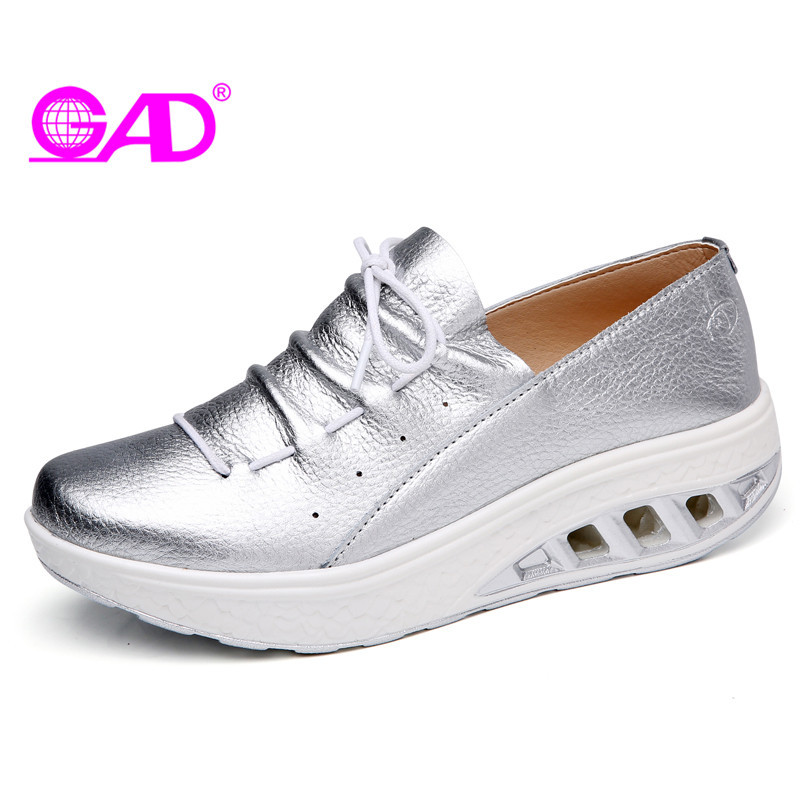 GAD 2018 Spring Fashion Women Flat Platform Shoes Sneakers Shoes Lace-up Breathable Leather Women Casual Shoes Large Size 36-42