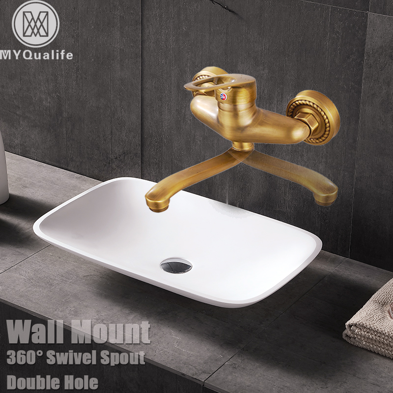 High-quality 25CM long nose Wall Mounted Kitchen Faucet Rotate left and right Bathroom Sink Mixer Tap Brass Antique Finished