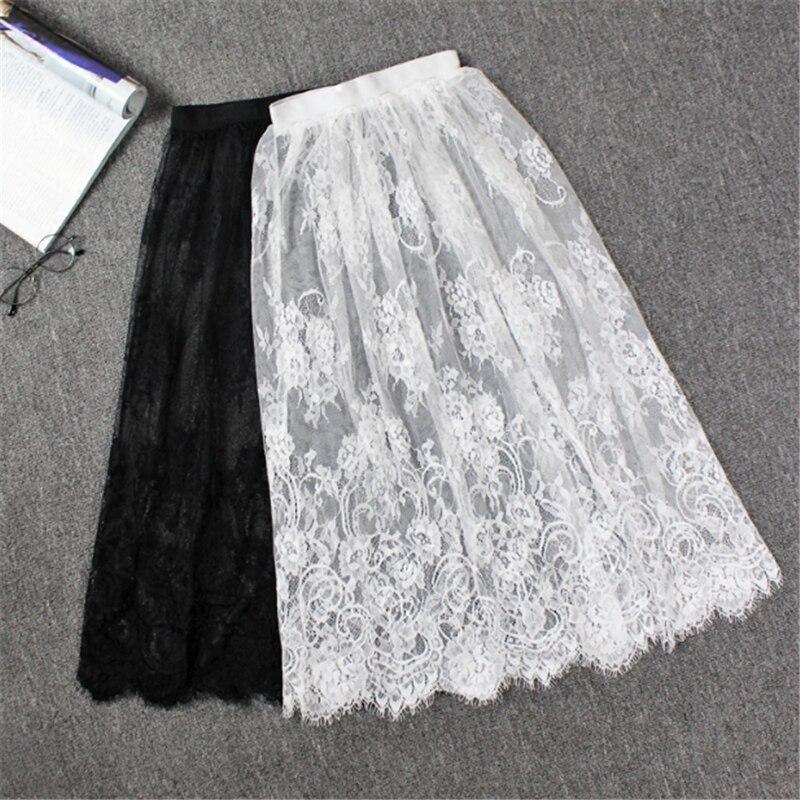 Petticoat Women Summer Black Tulle Skirt Women Sexy Slip Mesh Lace Beach Cover Up Skirt Beach Wear Wrap Underskirt Overskirt