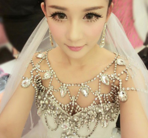 Wedding Bridal Jewelry Accessaries Crystal Necklace rhinestone Shoulder Chain With Tassel Party Ornament jj007