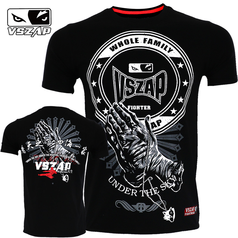 VSZAP Fitness Breathable Palm Prayer T- Shirt Muay Thai MMA Boxing Team T Shirts Running Gym Tees Fighting