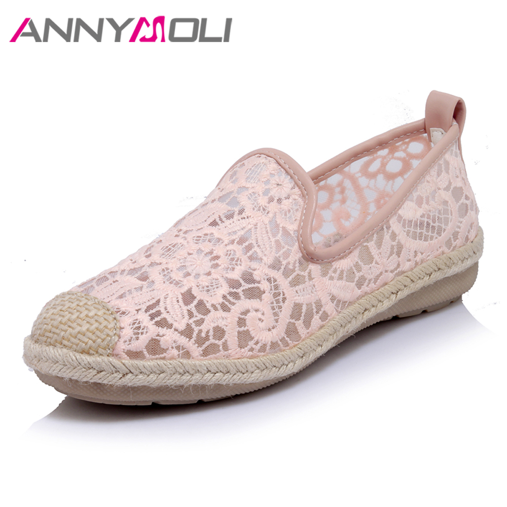 ANNYMOLI Shoes Women Flats Loafers Embroider Cut Out Slip On Hemp Rope Flat Autumn Lace Casual Footwear Pink chaussures femme