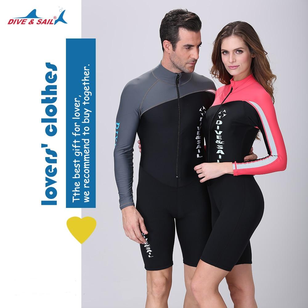 DIVE&SAIL Lycra+Neoprene Patchwork Sunscreen Wetsuit Rashguard Swimsuits One-piece Couples Long Sleeve Quick-dry Swimwear