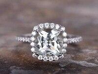 8mm Cojines cut verde amatista anillo de compromiso de plata esterlina 925 anillo de apilamiento oro blanco plateado nupcial banda a juego medio