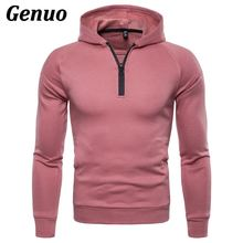 Genuo Autumn Winter Hoodies Tops Men Zipper Fitness Hooded Sweatshirt Streetwear Casual Male Slim Fit Hip Hop Pullover Moletom