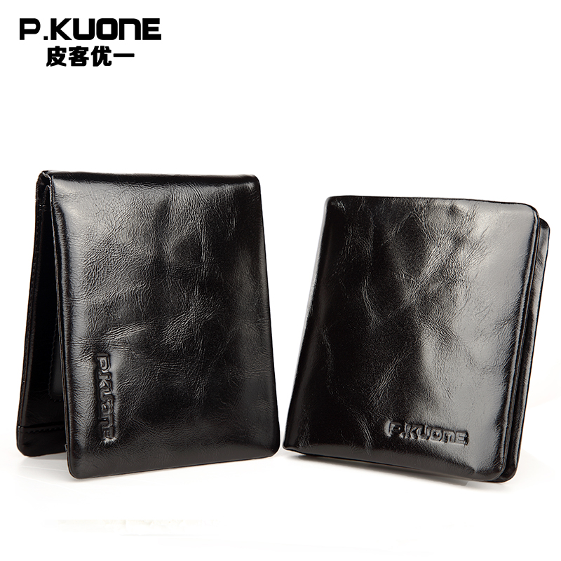 P.KUONE Leather Business Men Wallet 2017 Design Luxury Brand Male Small Purse High Quality Credit Card Holder Passport Cover Bag j quinn smart men zipper wallet portfolio cow leather business hasp men s purse credit card holder passport soft purse for man