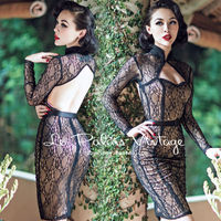 FREE SHIPPING Le Palais Vintage Limited Edition Retro Black Lace Sexy Backless Dress Tight Low Cut