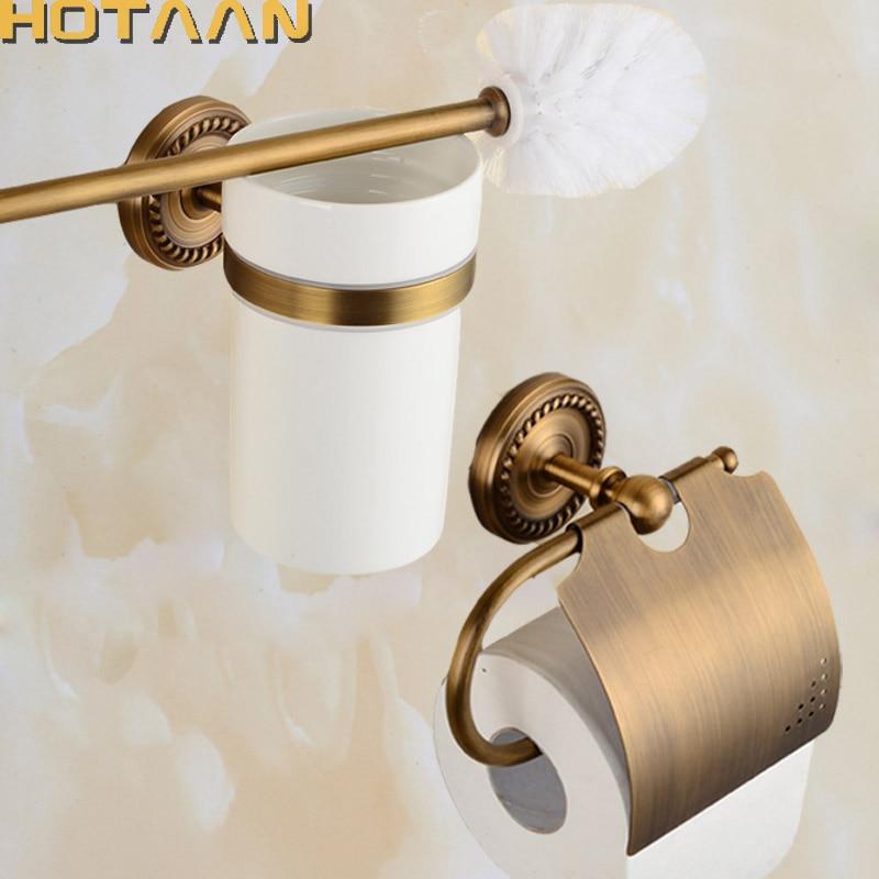 2017 Free shipping solid brass Bathroom Accessories Set toilet brush holder Paper Holder bathroom sets antique brass HT 812200 2. Popular Bathroom Accessories Sets Buy Cheap Bathroom Accessories