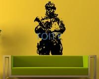 Militaire Soldaat Muursticker Army Man Marine Vinyl Decal Room Decor Art Mural H97cm x W57cm