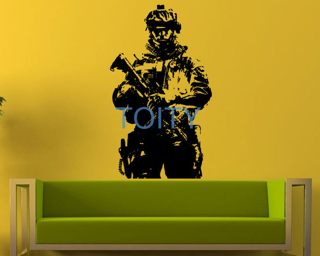 Military Soldier Wall Sticker Army Man Marine Vinyl Decal Room Decor ...