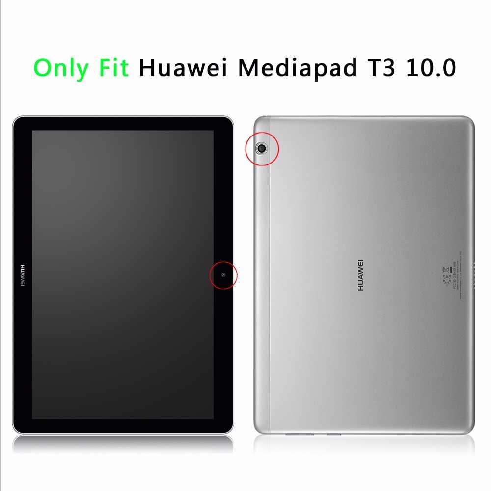 لهواوي MediaPad T3 10 9.6 بوصة اللوحي حالة لهواوي T 3 10 9.6 'AGS-L03 الذكية جلد الوجه الوقوف غطاء + ستايلس