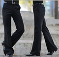 2016 Men's Flared trousers Formal pants Bell Bottom Pant Dance suit pants Size 28-36 Black Free shipping
