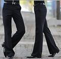2016 hombres pantalones Acampanados pantalones de Campana Inferior pantalones de traje Pantalón de Danza Formal Tamaño 28-36 Negro Envío gratis