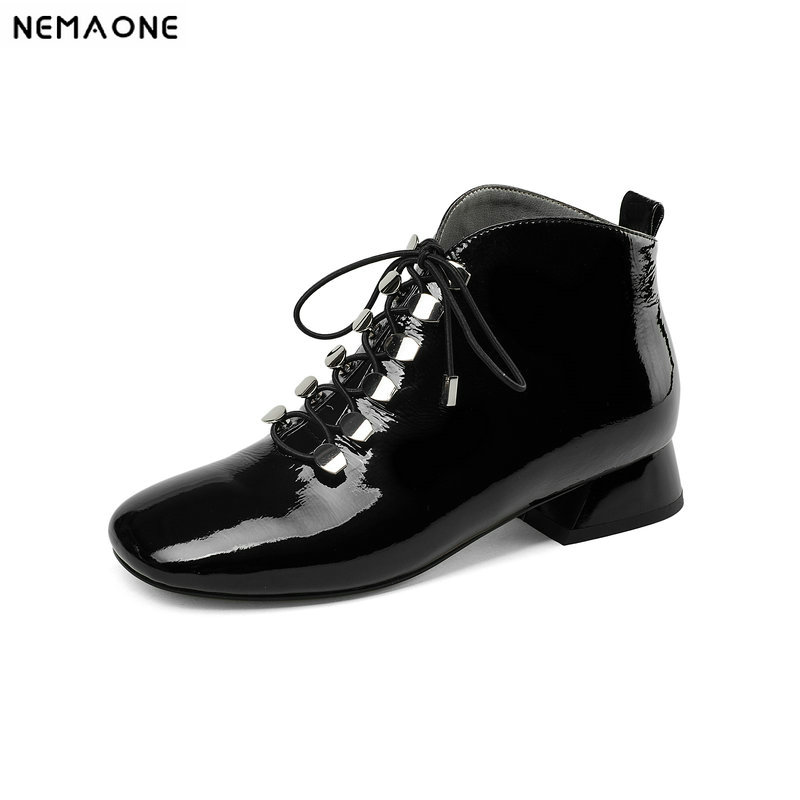 NemaoNe women boots genuine leather women 3cm low heels ankle boots fashion square toe lace up ladies shoes large size 43 free shipping 2015 women s fashion pointed toe with lace up genuine leather ankle boots larger size us 4 19
