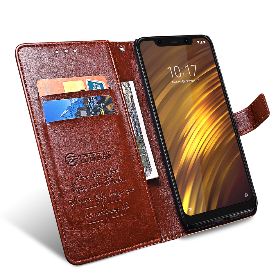 TOMKAS Pocophone F1 Case POCO F1 Global Flip Wallet With Stand Vintage Leather Silicone Back Cover Case For Xiaomi Pocophone F1 (3)