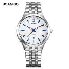 Спорт BOAMIGO лучший бренд класса люкс пару часов мода Повседневное Для мужчин кварцевые часы Полный Сталь Дата Для женщин Lover Пара Наручные часы