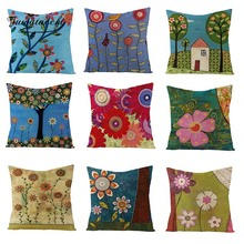 Fuwatacchi Sweet Village Views Linen Cushion Cover Cabin Colorful Flower Throw Pillow Pink Sunflowers Pillowcases