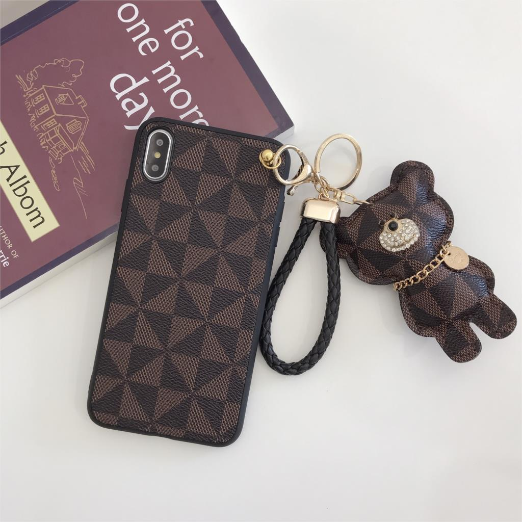 Beyour fashion soft Bracket doll Hand Strap bear cute Mobile Phone Case for iphone 6 6s 6plus 7 8plus X XR XS MAX