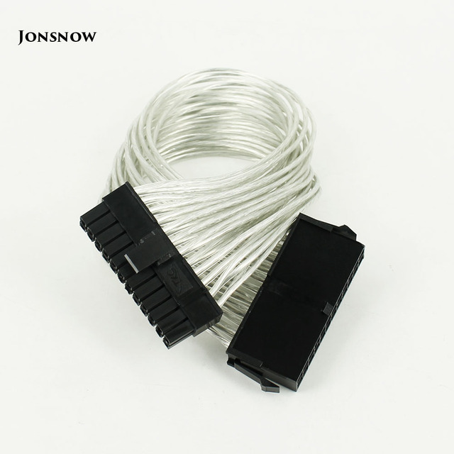 JONSNOW 24 Pin PSU Power Supply Extension Cable power 30cm 24 pin Power Supply Male to Female ATX Mining for Computer Adaptor