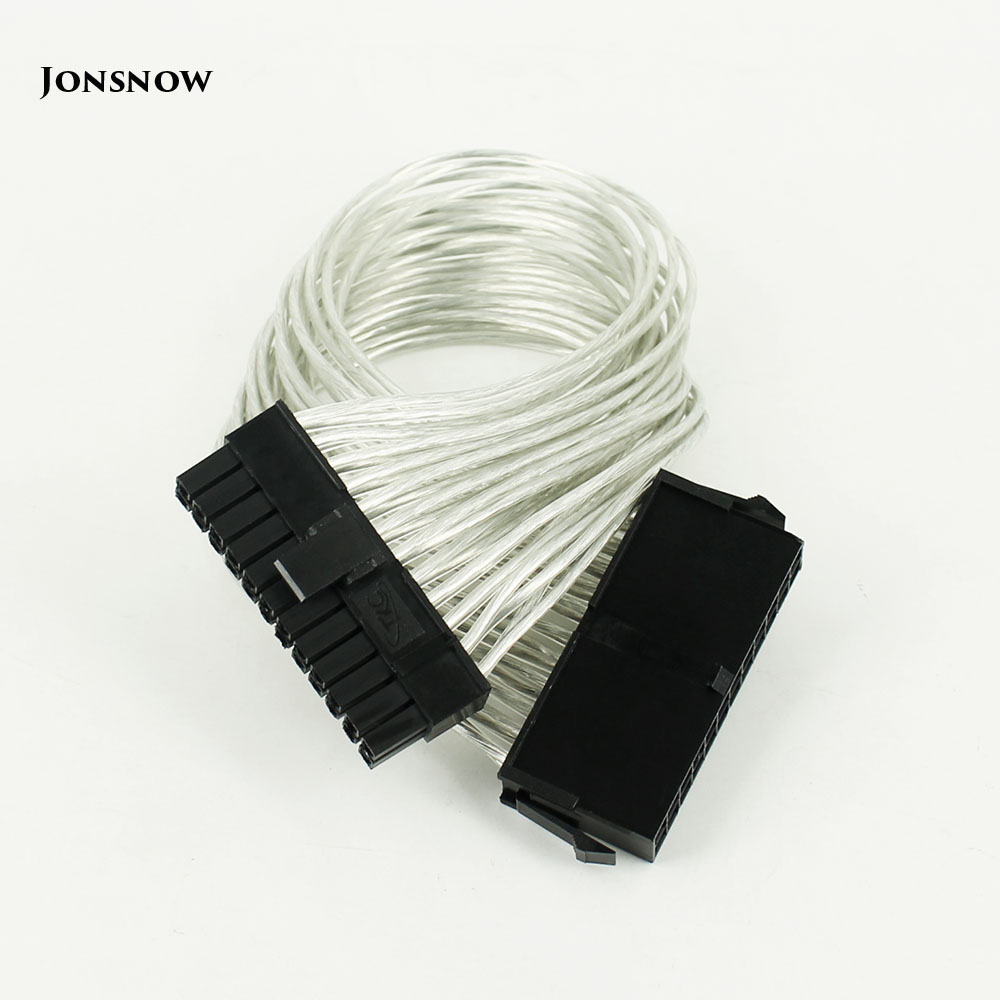 JONSNOW <font><b>24</b></font> <font><b>Pin</b></font> PSU Power Supply <font><b>Extension</b></font> <font><b>Cable</b></font> power 30cm <font><b>24</b></font> <font><b>pin</b></font> Power Supply Male to Female ATX Mining for Computer Adaptor image