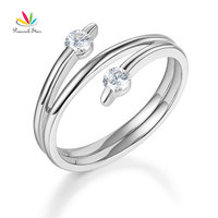Peacock Star Solid 14K White Gold Trendy Ring 0.2 Ct Diamond 585 Fine Jewelry