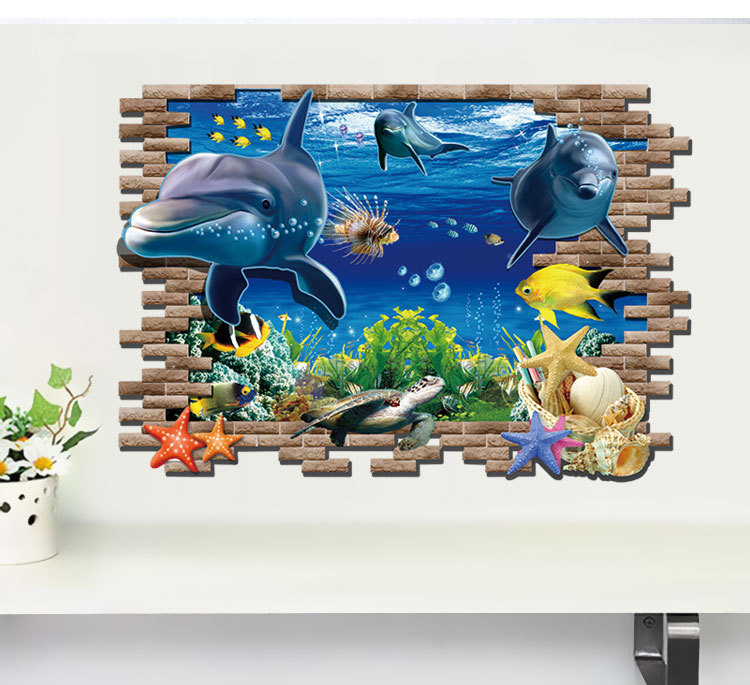 3D Animal Wall Sticker Dolphin Fish Blue Color Wall Decal for Boy Kids Rooms Home Decor Bedroom Wall Posters OO-028