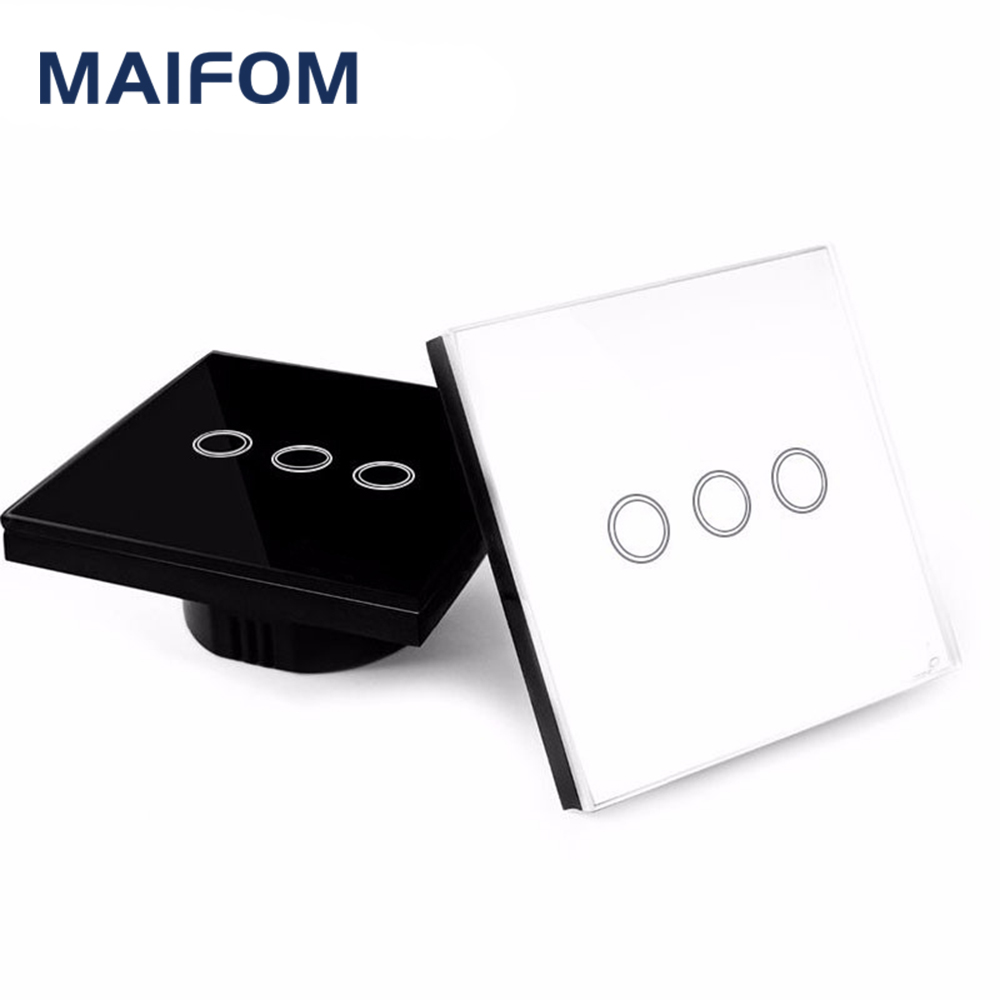 Smart Home EU/UK Touch Switch MAIFOM LED Wall Light Switch 110-240V 3 Gang 1 Way Waterproof Crystal Tempered Glass Panels funry eu 2 gang 1 way wall switch rf remote control light switch waterproof crystal tempered glass touch switch for smart home