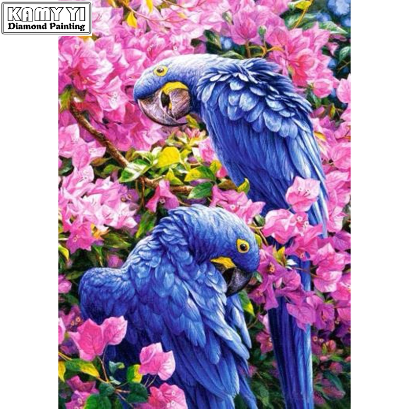 Full diamond embroidery Flowers in the two parrots Needlework cross stitch diy 5D diamond Painting diamond mosaic Home Decor
