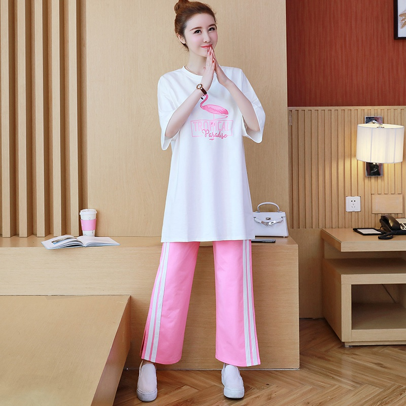 Korean version of spring and summer loose pregnant women suit flamingo print shirt+webbing stitching wide leg stomach lift pantsKorean version of spring and summer loose pregnant women suit flamingo print shirt+webbing stitching wide leg stomach lift pants