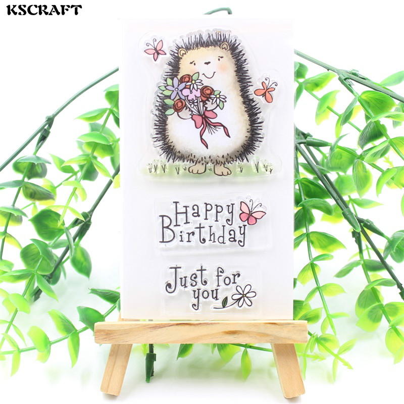 KSCRAFT Happy Birthday Transparent Clear Silicone Stamps for DIY Scrapbooking/Card Making/Kids Fun Decoration Supplies 1 sheet happy birthday silicone clear stamps for party decoration rubber stamps for crafts and scrapbooking free shipping 68508
