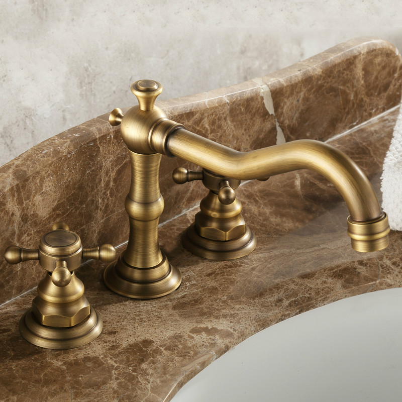 Antique Bathroom Deck Mounted Bathroom Faucet/ Kitchen Tap Brass Oil Brushed  Two Handle Ceramic Cartridge