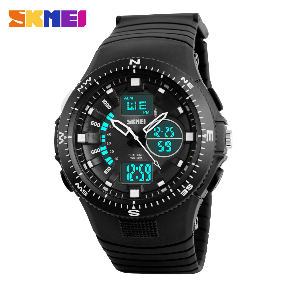 2017 New Skmei Brand Men Quartz Watch Analog LED Digital Military Watch 50M Dive Swim Dress Sports Watches Casual Wristwatches