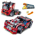 608 unids truck race car 2 en 1 modelo building block sets decool 3360 diy juguetes transformables compatible con leping