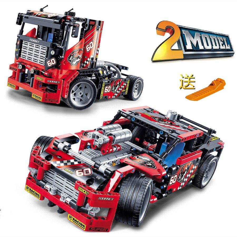 608pcs Race Truck Car 2 In 1 Transformable Model font b Building b font Block Sets