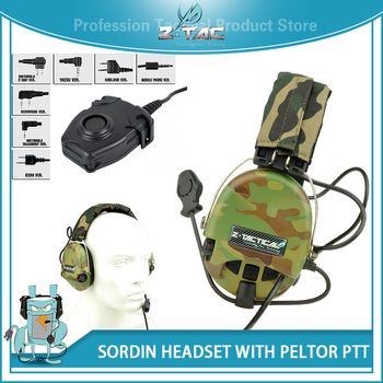 Z tac Softair Military Tactical Headset Z111 Active-Volume MSA Sordin Peltor Headset Hearing Protector Headset PTT Midland Z112