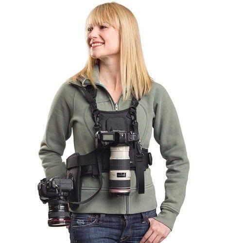 Carrier II Dual 2 cámara de transporte del pecho arnés chaleco sistema Correa rápida con funda lateral para Canon Nikon Sony pentax DSLR