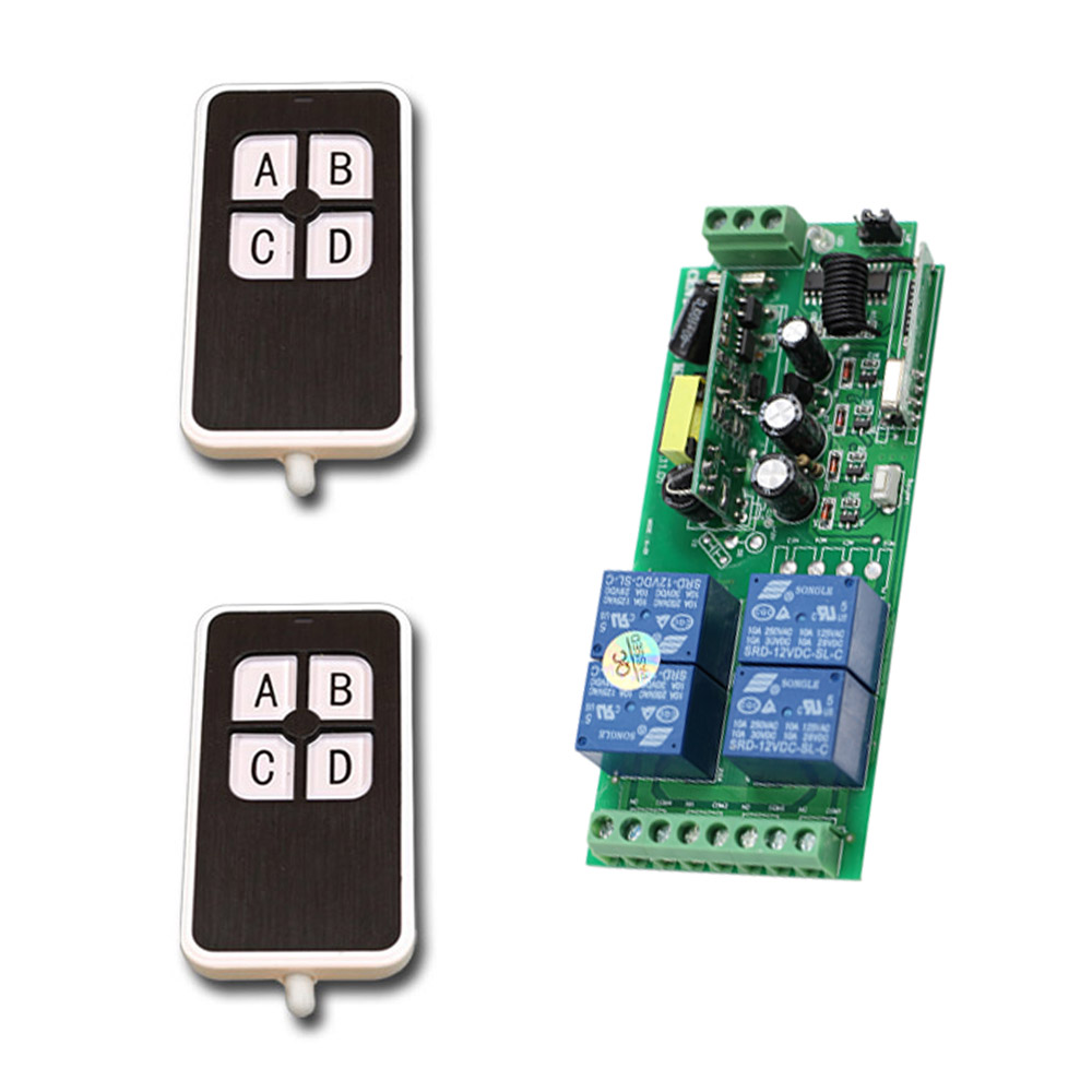 Wide Voltage AC85V- 250V 10A 4 CH RF Wireless Remote Control Switch System Receiver + Case and Transmitter 4Keys Hot Sale dc24v 8ch rf wireless remote control switch 8 receiver