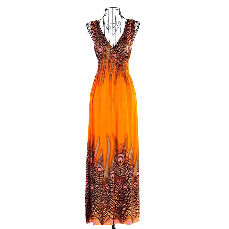 Сарафан с принтом, винтажное платье с v-образным вырезом, модные пляжные платья макси, сексуальные, лето 2019, Boho, женские платья на бретельках, павлин, цветок