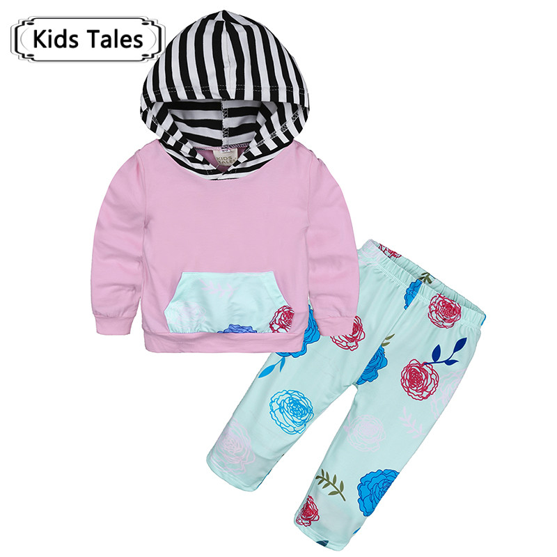 Модные Симпатичные новорожденных Одежда для мальчиков и девочек с капюшоном штаны с цветочным принтом 2 шт. хлопковый костюм спортивный кос...