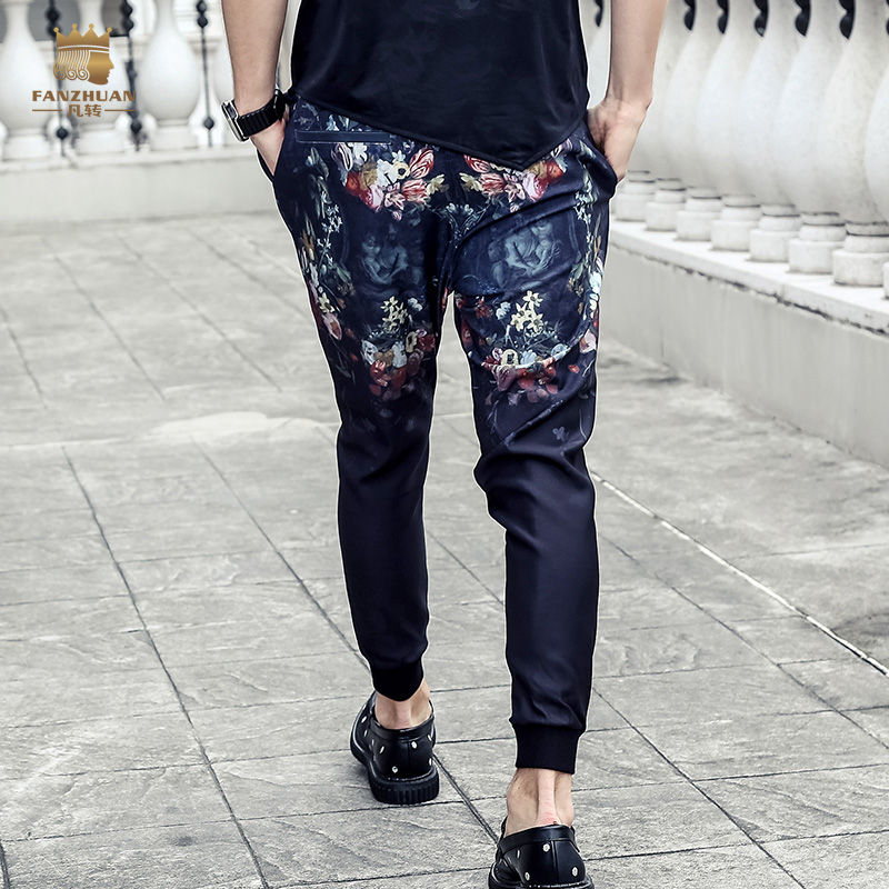 ελεύθερη ναυτιλία Fanzhuan άνδρες άνδρες νέων ανδρών μόδας 2017 λεπτό παντελόνι μήκος αστράγαλο παντελόνι διαίρεση πτυχή Διακοσμητικό Ninth 718093
