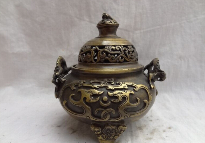 Song Voge Gem S2711 Tibet Bronze FengShui Dragon Unicorn Head Ball Statue Incense Burner Censer