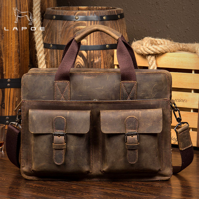 LAPOE Vintage Crazy Horse Briefcases Men Genuine Leather Messenger Bags 14 Laptop Handbags Cow Leather Business Bag ylang vintage crazy horse cowhide briefcases men messenger bags 15 laptop handbags genuine leather briefcase business bag