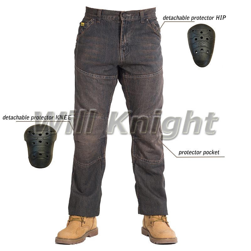 Motorcycle Jeans Moto GP Protective Pants Racing Trousers Armored with Pads Black цена и фото