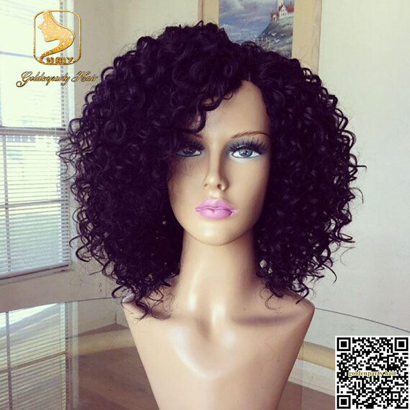 Hot Sale Glueless Full Lace Short Kinky Curly Wig For