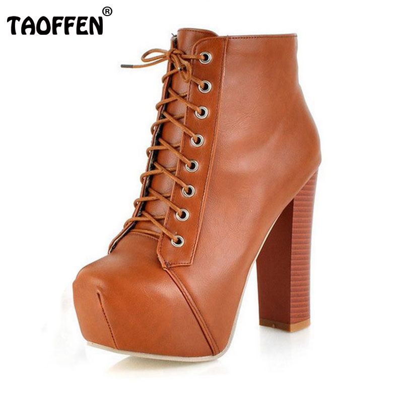 TAOFFEN Women Ankle Boots High Heel Shoes Short Winter ...