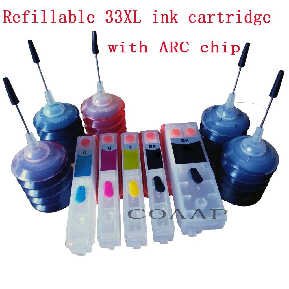 Набор чернильных картриджей для заправки 33XL + чернила для краски EPSON стандартной цветопередачи 150 мл