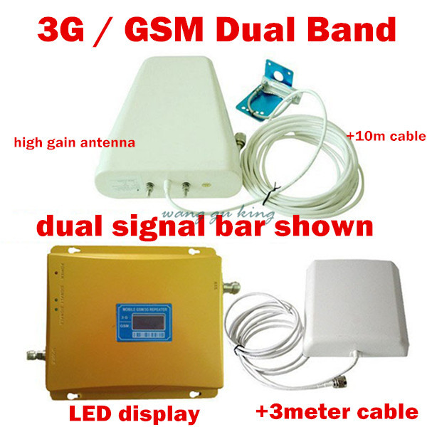 LCD Dual Band GSM 3G Mobile Signal Booster GSM 3G 900 2100 REPEATER Amplifier + Log-periodic Antenna + Panel Antenna+ Cable