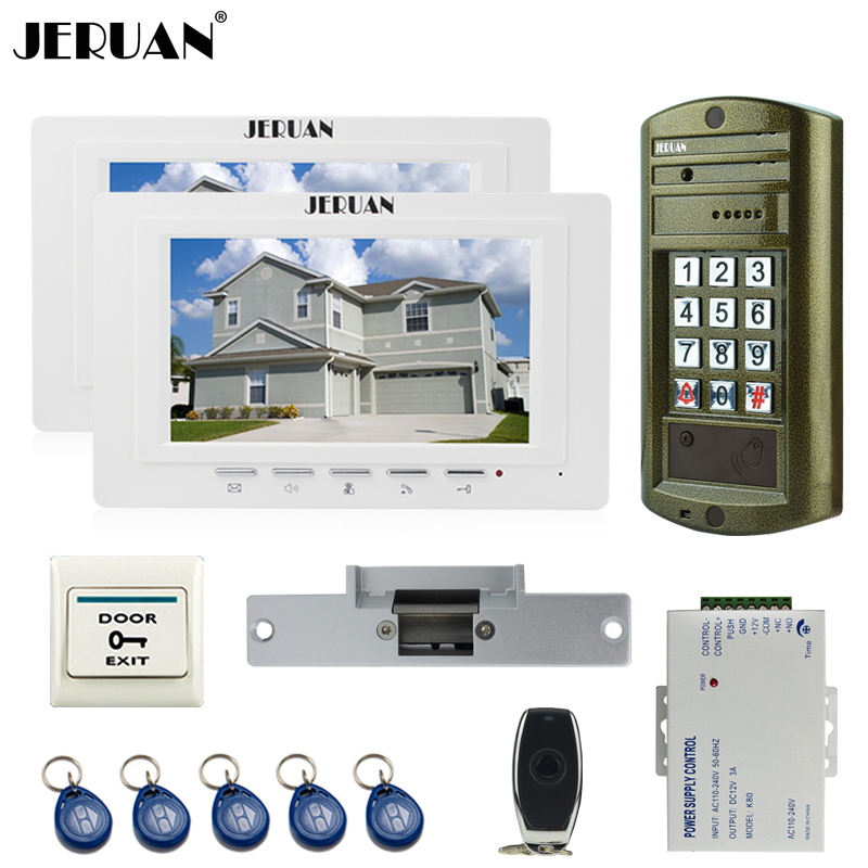 JERUAN 7 inch Video Door Phone Intercom System kit 2 Monitor +NEW Metal panel Waterproof Access Password keypad HD Mini Camera jeruan wired 7 inch video doorbell intercom door phone system kit new metal waterproof access password keypad hd mini camera 1v3